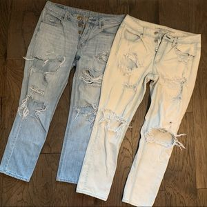 AEO Tomgirl Distressed Destroyed Button Fly Jeans